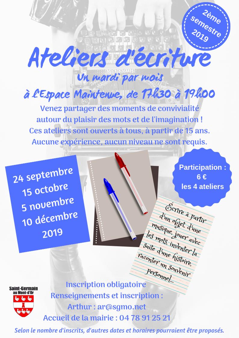 Ateliers d'écriture 2019 S2