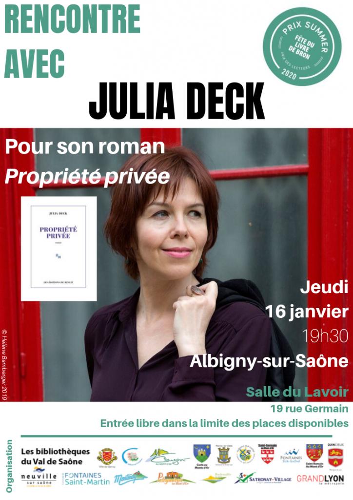 Rencontre avec l'auteure Julia Deck @ Salle du Lavoir - Albigny-sur-Saône